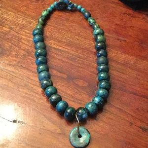 Handcrafted statement necklace w matching drop